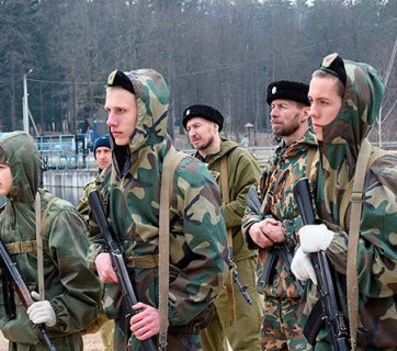 "Belarusian boys receiving military training at a Russian ""military-patriotic camp"" in the territory of Russian Orthodox churches in Belarus (Image: Nasha Niva)"