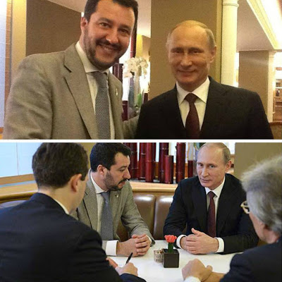 Matteo Salvini, the leader of the far right Lega Nord party, meeting Putin in October 2014