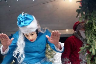 Snigurochka, the granddaughter of Father Frost, dances to New Year music