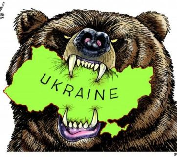 Political cartoon: The Russian bear gnawing on Ukraine