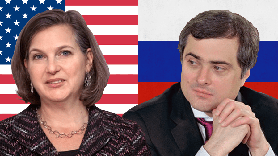 Victoria Nuland, Vladislav Surkov. Collage by Euromaidan Press