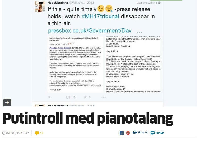 "Norrköpings Tidningar article entitled ""Putin's troll with piano talent"", October 2015"