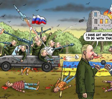 """Peacemaker Putin"" by Marian Kamensky"