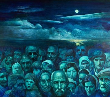 Deportation of the Crimean Tatars. A painting by Crimean Tatar artist Rustem Eminov. The entire population of Crimean Tatars who survived the German occupation of the peninsula (over 200 000) was deported by Stalin just in two days. In packed and locked railroad cattle cars and with few provisions and water, they were sent on an arduous journey to remote rural locations in Central Asia and Siberia. Over 46 percent of the Crimean Tatar people perished during the trip and in the first 2 years of the exile due to the harsh conditions. A year after the deportation when the WW2 ended, demobilized Crimean Tatar soldiers were sent from the Soviet Army directly into exile too.