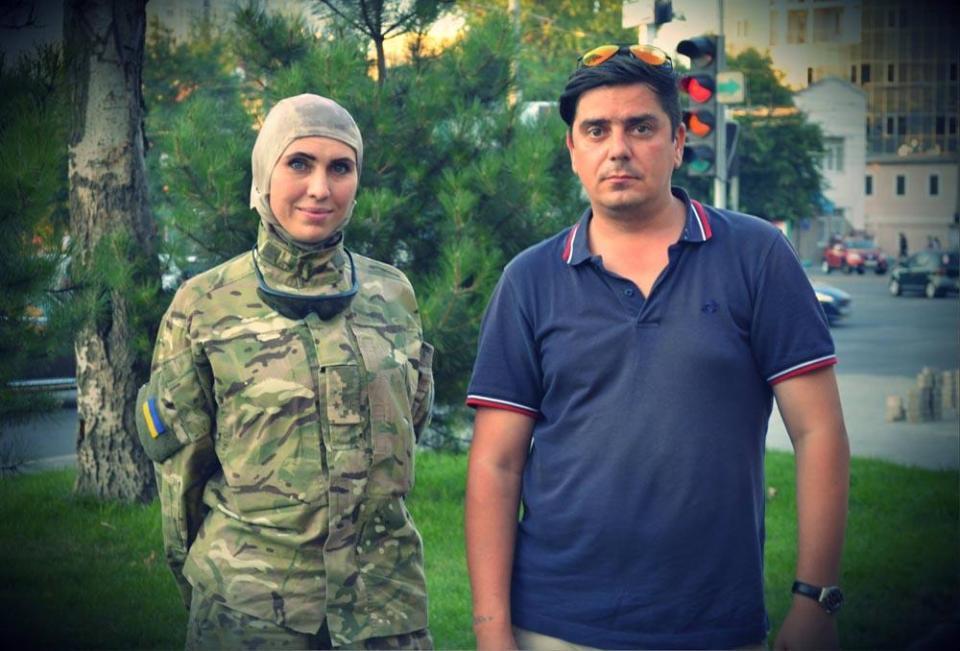 Dmitriy Florin and Amina Okuyeva, one of the Chechens fighting against Russia's hybrid invasion in Donbas. Photo from svoyakolokolnia.ru