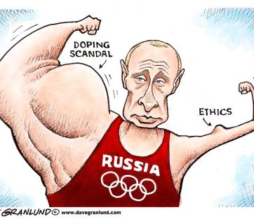 Political cartoon: Russian doping scandal. Putin's ethics.