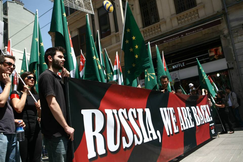 Circassian protesters in Istanbul (Image: No Sochi 2014)