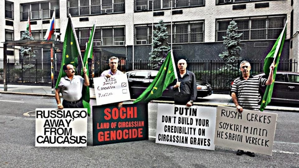 Circassians protesting the Olympiad on the land occupied by Russia (Image: No Sochi 2014)