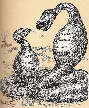 "The Two Constrictors. ""I don't know about helping you, Adolf, but I do understand your point of view."" A cartoon by Bernard Partridge at Punch-Magazine, 1939"