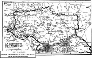 Map of Ukraine presented by the Ukrainian delegation at the Paris Peace Conference in 1919