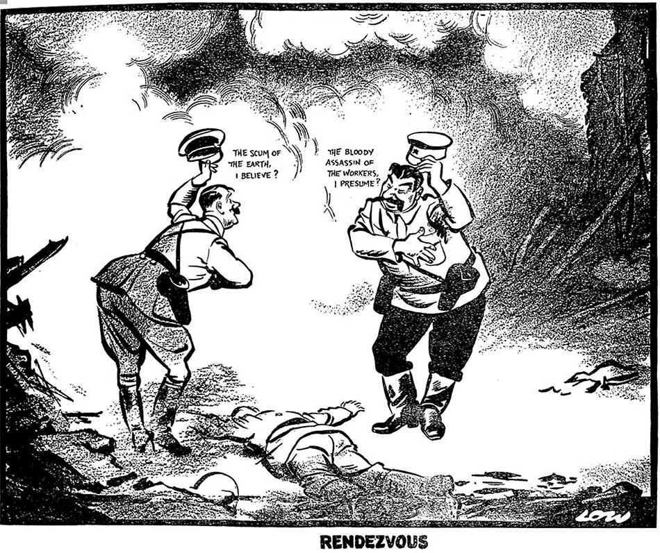 """David Low named his political cartoon describing the German-Russian invasion of Poland that started the WW2 - """"Rendezvous."""" The cartoon depicts a meeting by the two allied Nazi-Soviet dictators over the corpse of a Polish defender. Hitler says to Stalin while smiling, lifting his hat and bowing: """"The Scum of the Earth, I believe?"""" and Stalin responds to him """"The Bloody Assassin of the Workers, I presume?"""" while smiling, bowing and lifting his in kind. The secret agreement on the division of Poland that was part of the Molotov-Ribbentrop Pact was not yet known, but nonetheless, Low recognized what happened and drew it in this work. (Image: The Evening Standard (UK), September 20, 1939 issue)"""
