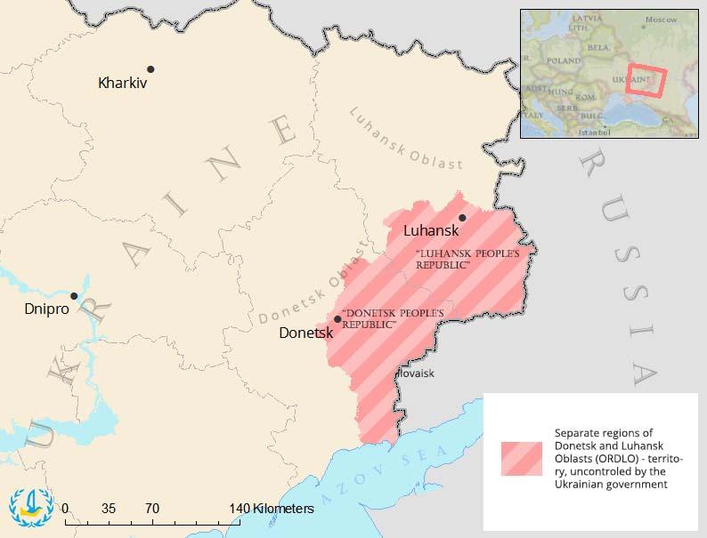 """DNR"" and ""LNR"" on a map. Image: Euromaidan Press"