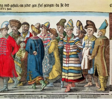 The Great Embassy of Ivan IV (1530-84), a.k.a. the Terrible, of Muscovy to the Holy Roman Emperor at Regensburg in 1576 (Image: colored woodcut, detail, Bibliotheque des Arts Decoratifs, Paris, France via Wikipedia)