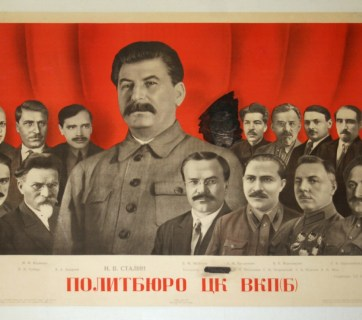 Stalin's Politburo of 1935. The blacked-out figure is Jānis Rudzutaks, who was arrested in 1937, accused of Trotskyism and espionage for Nazi Germany, and sentenced to death. He was shot by the NKVD secret police in 1938. (Image: ОГИЗ-ИЗОГИЗ)