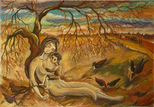 1932-1933 Holodomor famine-genocide. Painting by Nina Marchenko