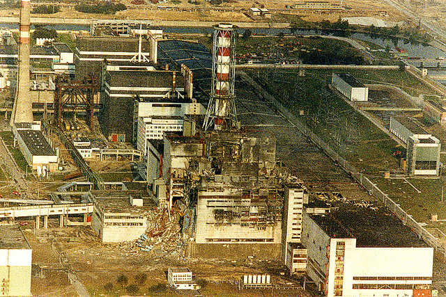 Aerial view of destroyed Chernobyl reactor after the accident in 1986 showing the extent of the damage caused. Photo: EBRD Flickr