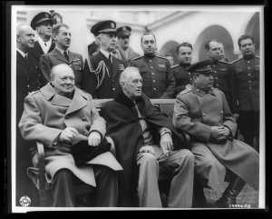 The Crimean Conference: Prime Minister Winston Churchill, President Franklin D. Roosevelt, and Marshal Joseph Stalin at the palace in Yalta, February 1945 (Image: U.S. Signal Corps, from collection of the Library of Congress)