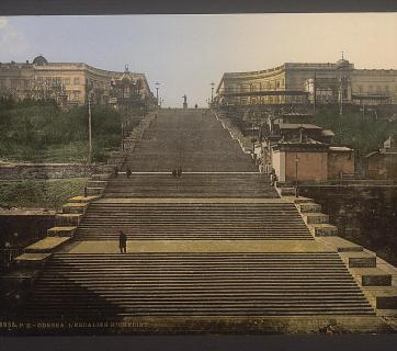 The Richelieu Stairs (aka Potemkin Stairs) in Odesa, Ukraine circa 1890-1900. Image: Detroit Publishing Company via the Library of Congress