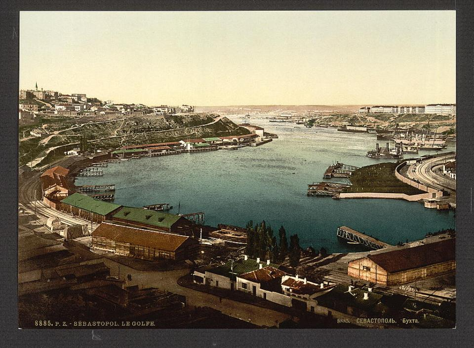 A view of the Southern (aka Man-of-War) Harbor in Sevastopol, Crimea, Ukraine circa 1890-1900. Image: Detroit Publishing Company via the Library of Congress