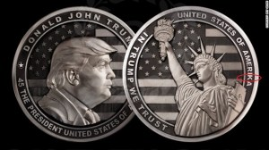 "A two-pound silver coin dedicated to Donald Trump minted in Russia for his inauguration. The back of the coins shows the Statue of Liberty against a background of the American flag with inscription reading, ""In Trump We trust."" Please note the spelling error. (Image: Art Grani)"