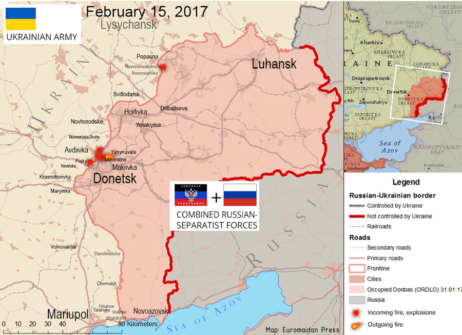 The situation in the Donbas on February 15, 2017, according to reports by local residents on social networks