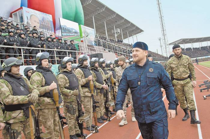 Ramzan Kadyrov, the governor of Chechnya, inspecting his 'personal army' assembled at the Grozny stadium, 2015 (Image: versia.ru)