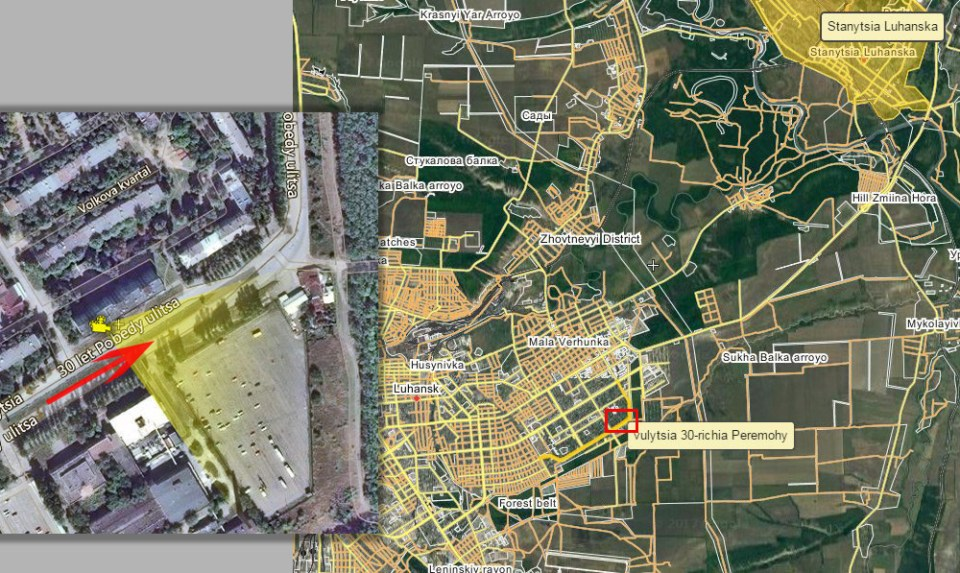 The location of a military column in Luhansk on February 2014.