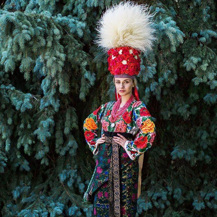 Iryna Zhytariuk, Miss Ukrainian Canada 2016, wearing a traditional festive (wedding) dress and elaborate headdress from Northern Bukovyna, Western Ukraine. Photo by Julia Merk