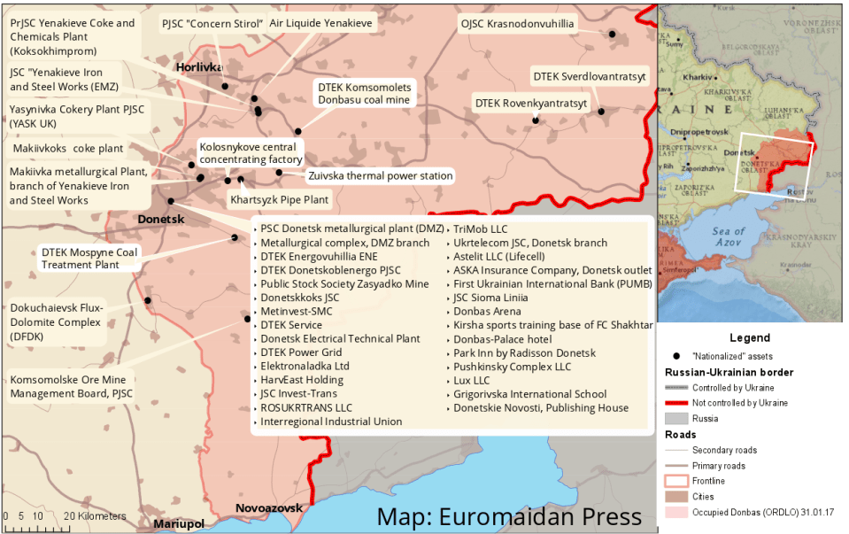 """Ukrainian assests in the Donbas """"nationalized"""" by so-called LNR and DNR on March 1, 2017. Map: Euromaidan Press. High-resolution image."""