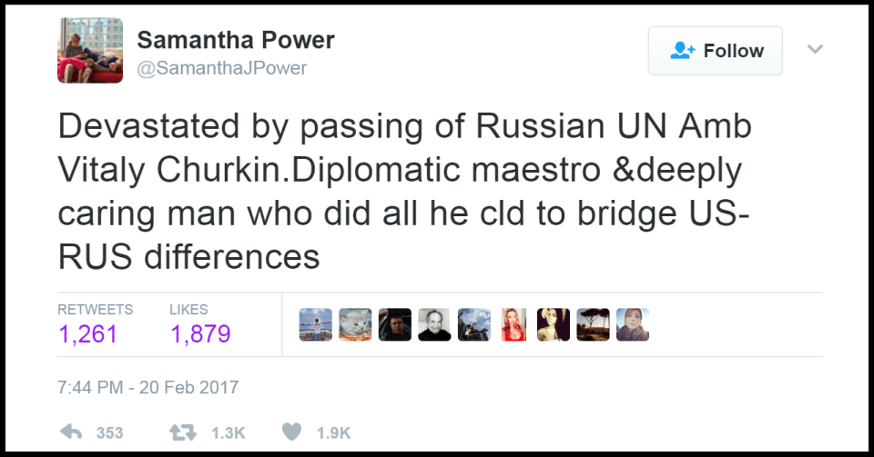 Samantha Power's tweet about Vitaly Churkin's passing