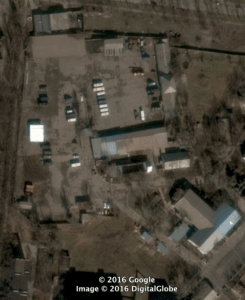 """Base for military unit 3057 in Mariupol, located at 47°5'34""""N, 37°31'46""""E. Source: Google Earth/Digital Globe. Source: DFRLab"""