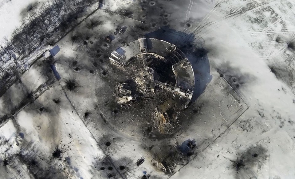 Donetsk Airport: This photo taken by a drone on January 15, 2015 shows the destroyed control tower surrounded by craters and debris at the airport in Donetsk. Photo: ArmySOS, via theatlantic.com