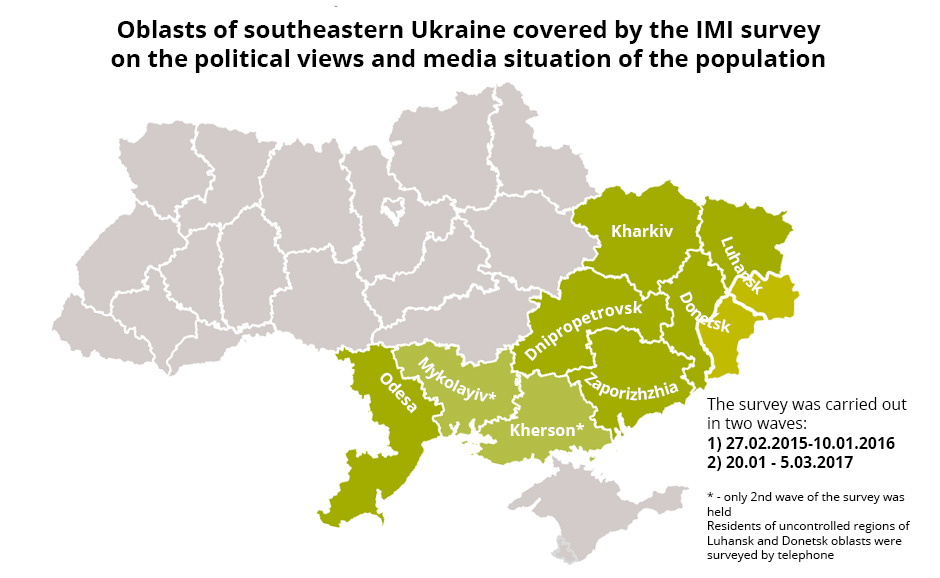Geographic scope of the survey. Image: IMI report, edited by Euromaidan Press