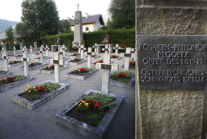 A memorial at cemetery in Lienz, Austria to Cossacks in German service who surrendered to British forces and shortly after were handed over to the Soviets who massacred them all. (Image: t-rip.at)