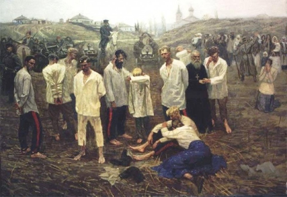 Rebellious Cossacks before execution by the Red Army