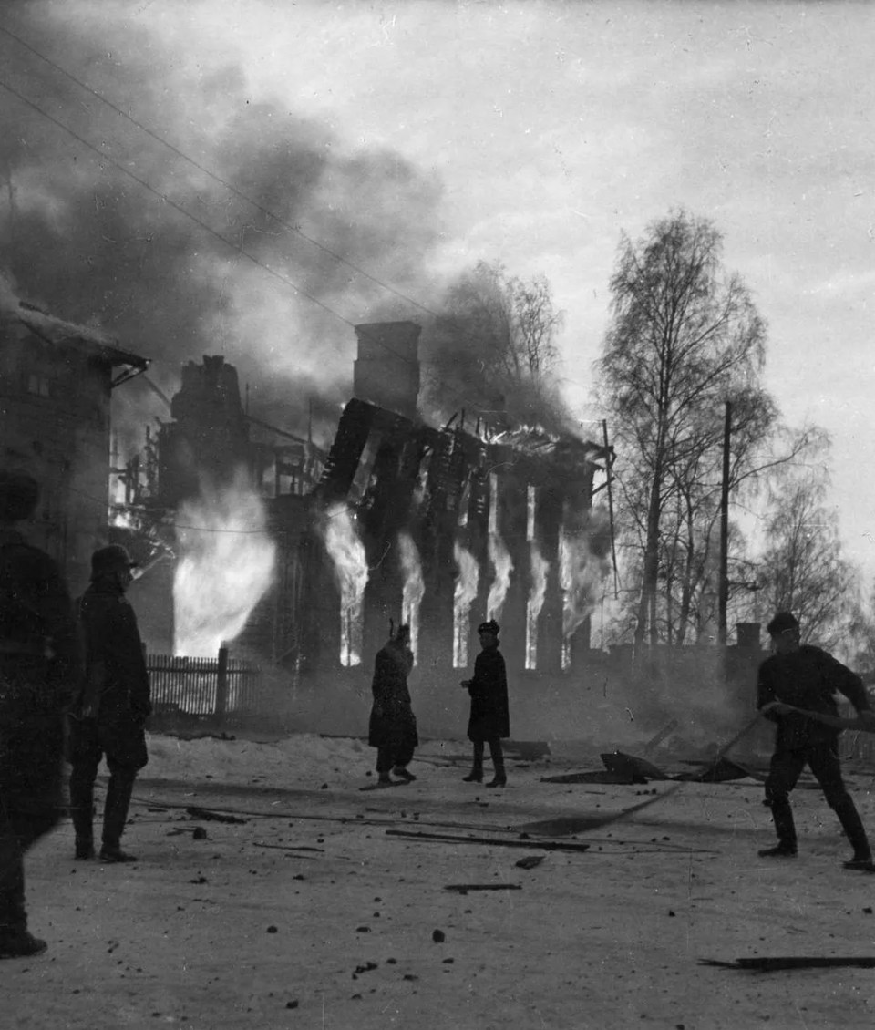 A building burning after a Soviet air bombing raid in Vaasa, Finland. The Winter War, 1939