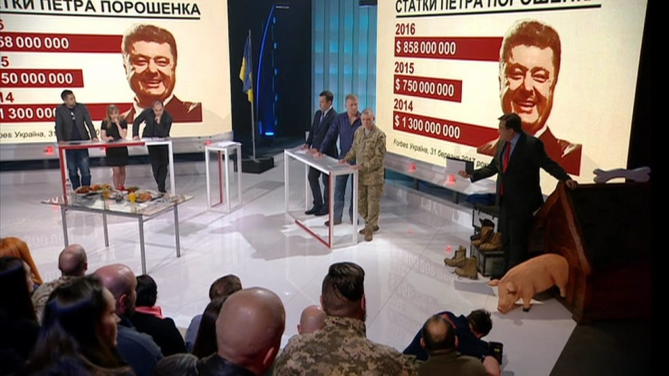An episode of Saakashvili's show discussing Poroshenko's finances