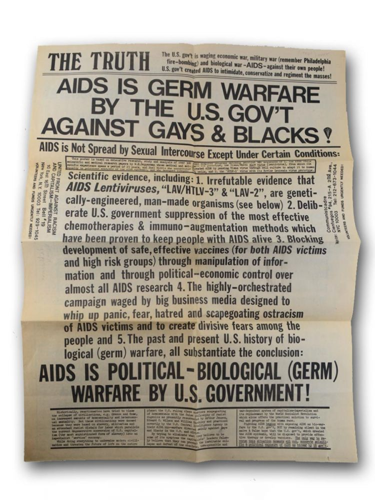 A standard message featured by a leftist paper within the AIDS disinformation campaign