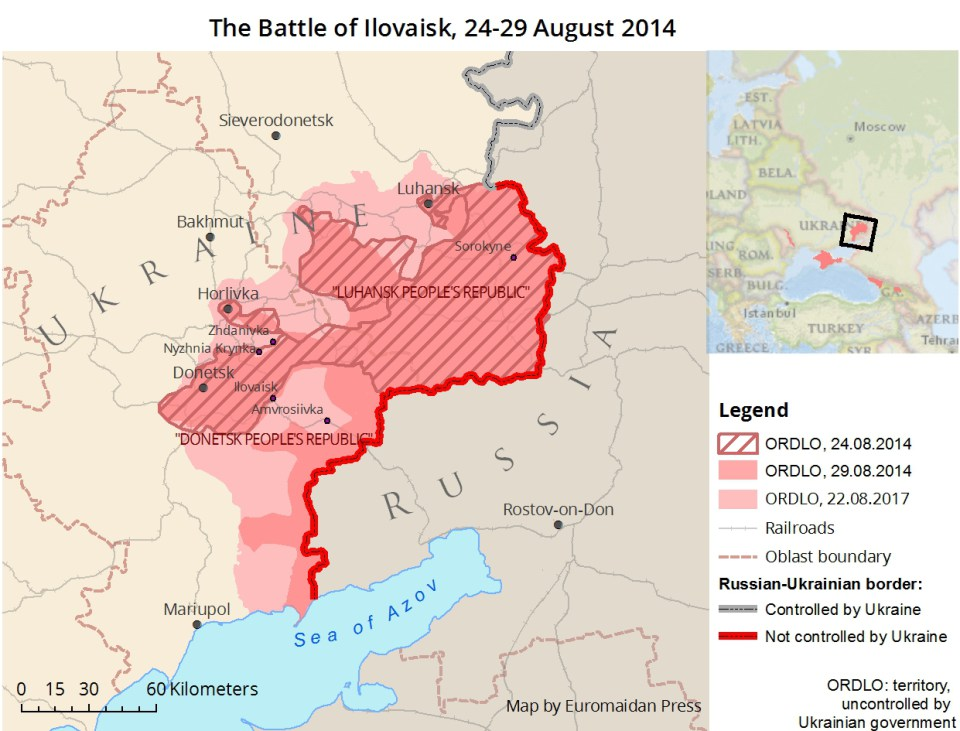 "Map of the Battle of Ilovaisk. The territory uncontrolled by the Ukrainian forces (ORDLO) rapidly expanded over 24-29 August 2014 as a result of a Russian incursion. In the following months, the Russian-backed separatists won more ground and secured roughly the territory that the Russian proxy ""Donetsk and Luhansk People's republics"" occupy today."