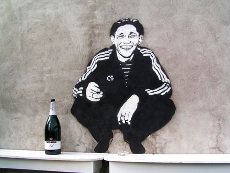 "A ""gopnik,"" featured in this street art, embodied the gangster culture of the 90's"