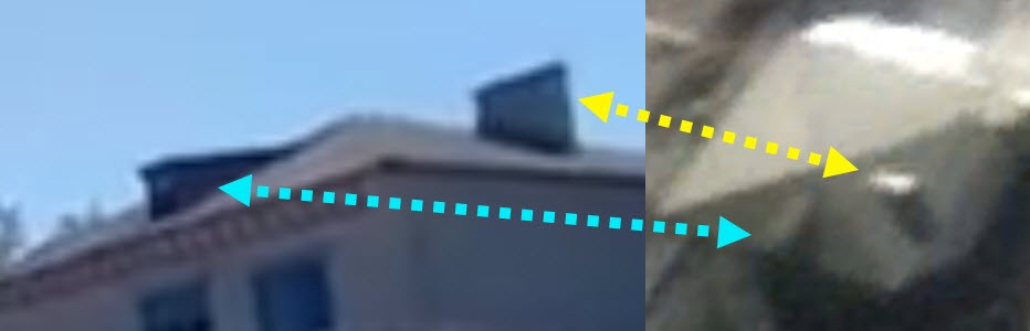 Matching details on a roof, from the Facebook video by Vyshnivetskyi and satellite imagery . Comparison: DFRLab
