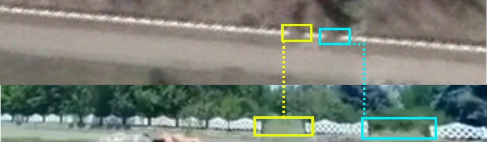 Detail of a series of white fences next to the house seen at the end of the clip, with two noticeable gaps directly in front of the camera. Top image from satellite imagery by Google Earth, bottom from Facebook video by Vyshnivetskyi. Comparison: DFRLab