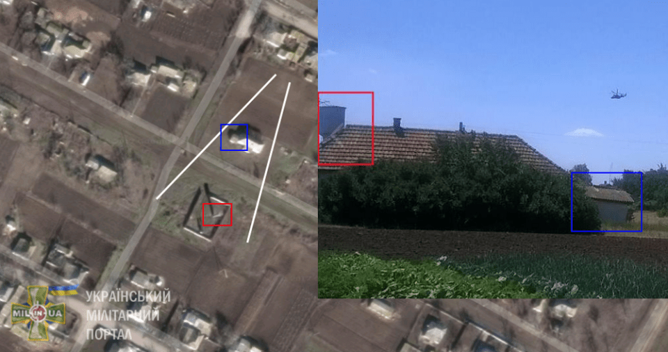 Exact location in Pavlivka, Kherson Oblast (on map) where photographs by Mr.Vyshnivstskyi were taken. Geolocation: mil.in.ua