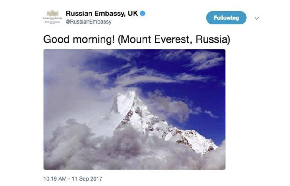 Russian embassy tweets that Mount Everest is a part of Russia