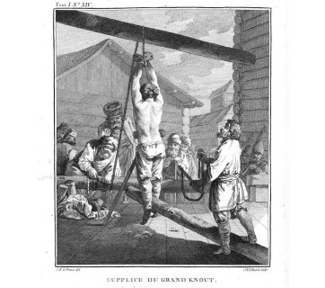 Punishment with a knout. Whipping was a common punishment for Russian serfs. (Image: Wikipedia)