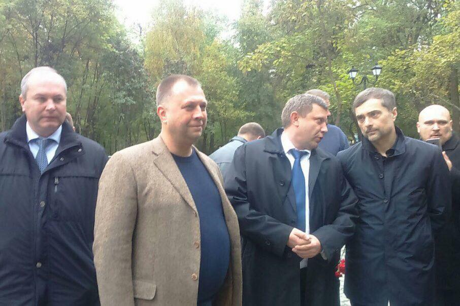 "First row right to left: Kremlin's aide Vladislav Surkov who controls fake Donbas states, DNR leader Aleksandr Zakharchenko, DNR ex-PM Aleksandr Borodai at the opening of the monument ""to the heroes of the Donbas."" 16 October 2017, Rostov-on-Don, Russia. Photograph: Twitter"