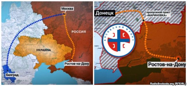 A map showing how one group of Serbians arrived in occupied Donbas