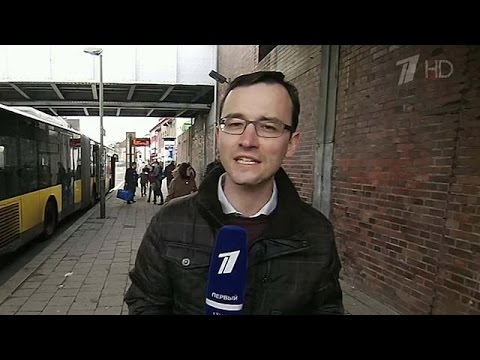"""Pervy Kanal's correspondent reporting the """"Lisa"""" disinformation story from Germany. Image: Youtube"""