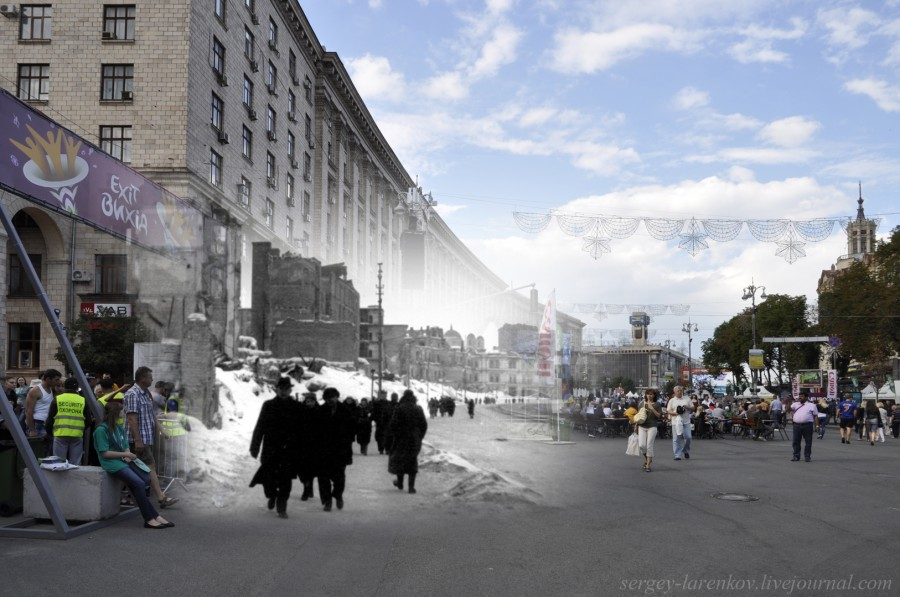 Kyiv 1942/2012. The central street, Khreschatyk destroyed by the Soviets. Collage: Sergey Larenkov (Livejournal)