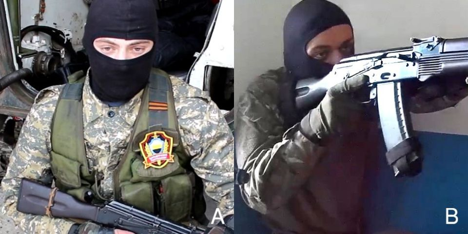 "A: ""Kharkiv guerilla"". B: His ROD twin with the same AK-74. Combined image: BBC Russian"